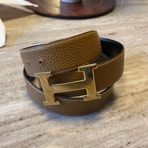 Authentic Hermes H Leather Belt